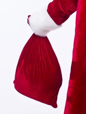 Красный мешок для подарков 50см на 60см фото 2