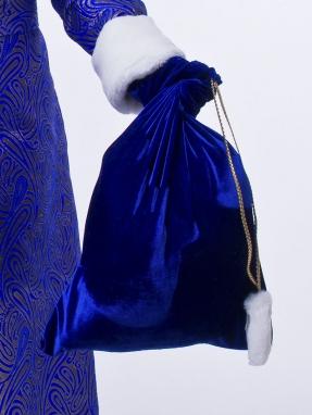 Синий бархатный мешок для подарков 50 см на 60 см