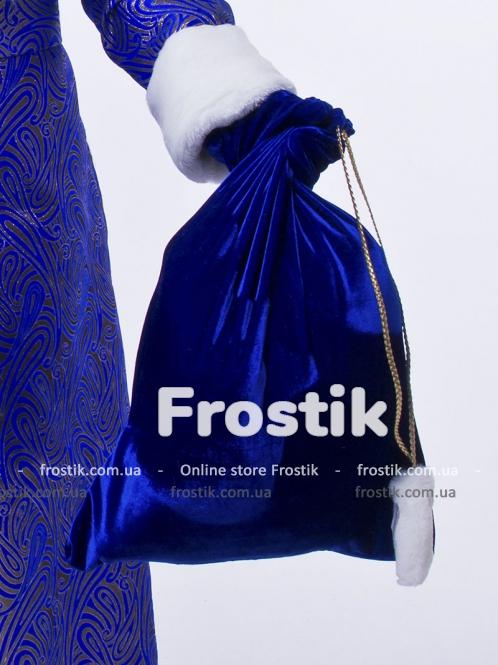 Мешок для подарков синий бархат 50 см на 60 см
