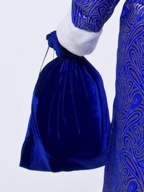 Синий бархатный мешок для подарков 50 см на 75 см