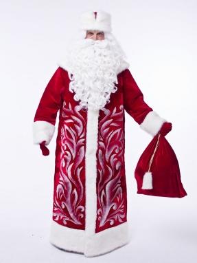 Костюм Деда Мороза Барский красный + парик в подарок