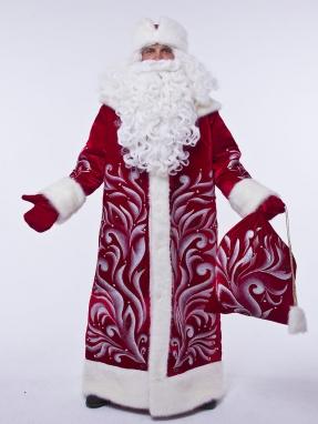 Костюм Деда Мороза Королевский красный