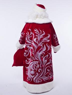 Красный королевский костюм Деда Мороза (борода Кристал в подарок)