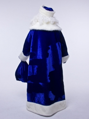 Синий барский костюм Деда Мороза (борода Кристал в подарок)