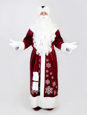 Бордовый костюм Деда Мороза со снежинками (борода Кристал и мешок в подарок)
