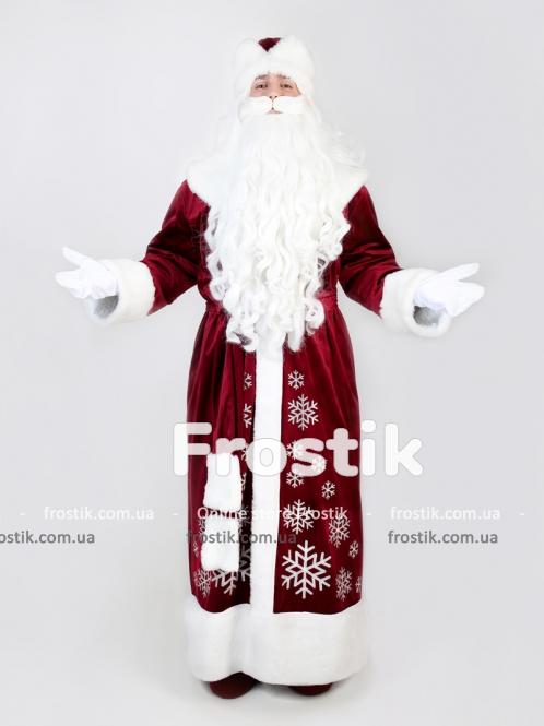 Бордовый костюм Деда Мороза со снежинками