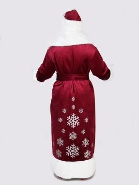 Бордовый костюм Деда Мороза со снежинками фото 2