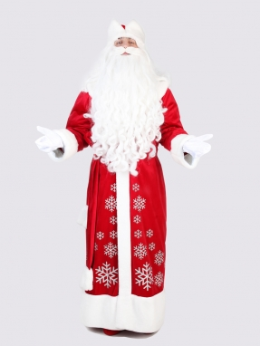 Красный костюм Деда Мороза со снежинками (борода Кристал и мешок в подарок)