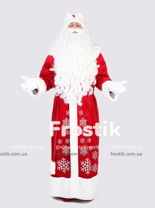 Красный костюм Деда Мороза со снежинками