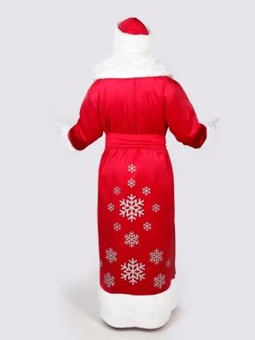 Красный костюм Деда Мороза со снежинками (борода Кристал и мешок в подарок) фото 2