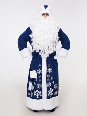 Синий костюм Деда Мороза со снежинками (борода Кристал и мешок в подарок)