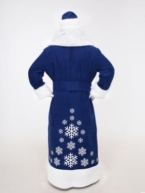 Синий костюм Деда Мороза со снежинками (борода Кристал и мешок в подарок) фото 2