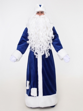 Синий бархатный костюм Деда Мороза (борода Эконом и варежки в подарок)