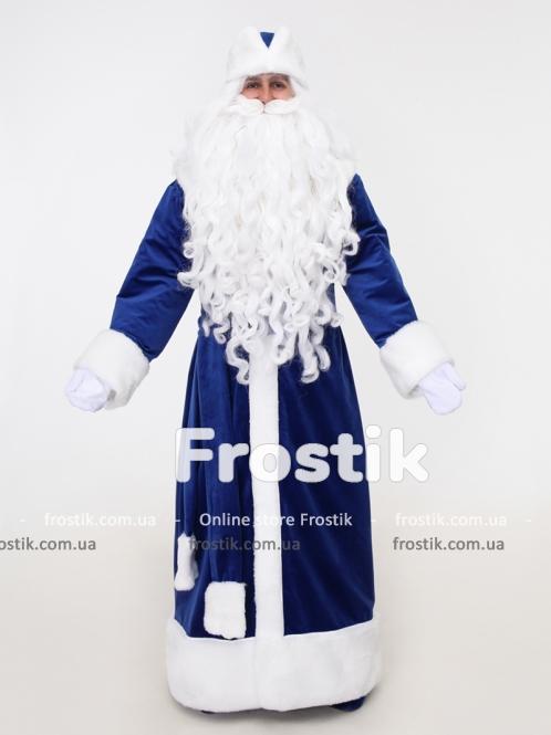 Синий бархатный костюм Деда Мороза