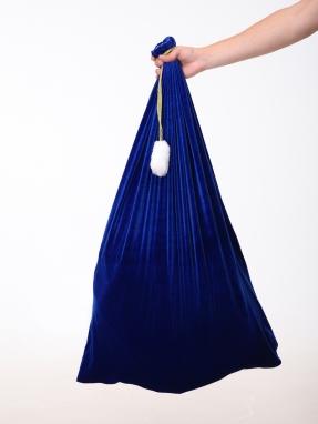 Синий бархатный мешок для подарков 75 см на 100 см