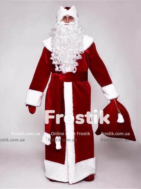 Костюм Деда Мороза бархатный красный
