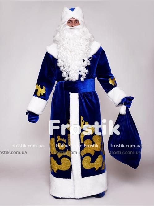 Костюм Деда Мороза с аппликацией синий