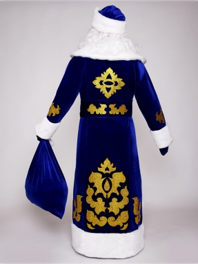 Синий костюм Деда Мороза с аппликацией фото 2