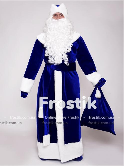 Костюм Деда Мороза синий (прокат)
