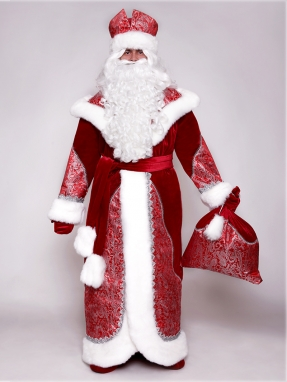 Костюм Деда Мороза Боярский красный + накладки на обувь в подарок