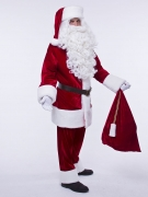 Красный классический костюм Санта Клауса (колокольчик и накладки в подарок)