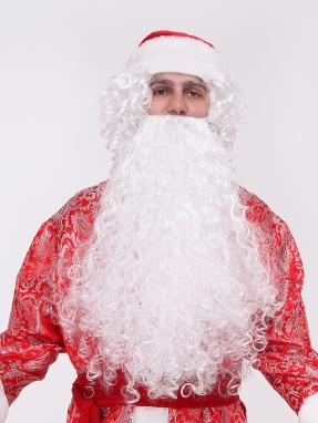 Борода и парик Деда Мороза Кристальная (комплект)