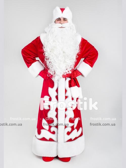 Красный костюм Деда Мороза с аппликацией