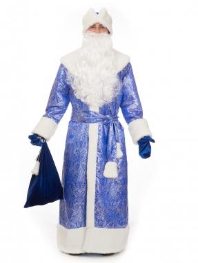 Костюм Деда Мороза Восточный синий (на подкладке) фото 2